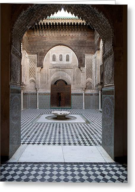Al-attarine Madrasa Built By Abu Greeting Card by Panoramic Images