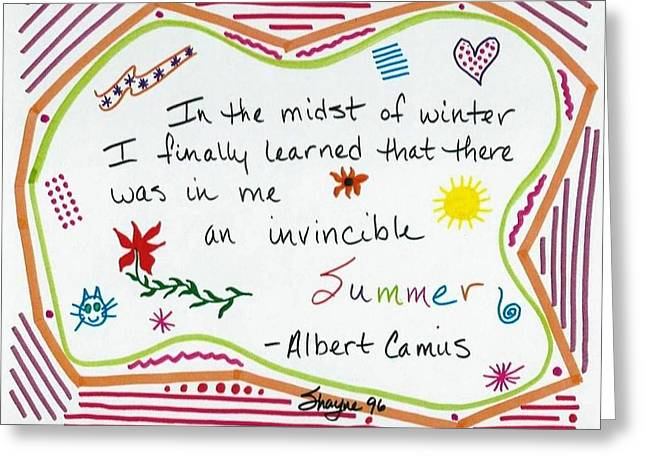 Albert Camus Doodle Quote Greeting Card