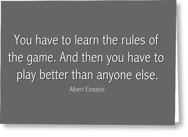 Albert Einstein Famous Quote In Gray Greeting Card by Celestial Images