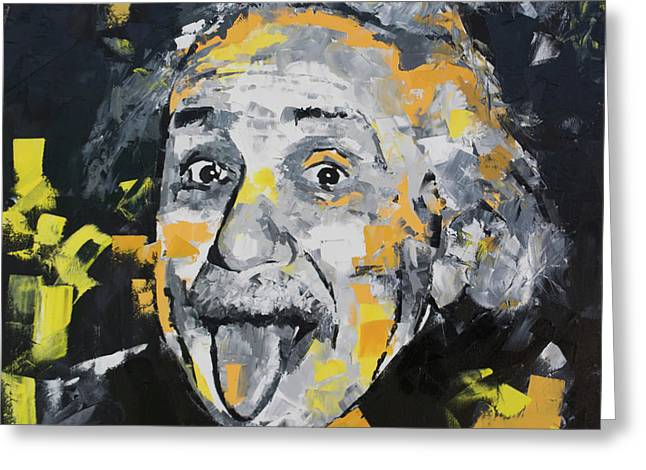 Greeting Card featuring the painting Albert Einstein by Richard Day