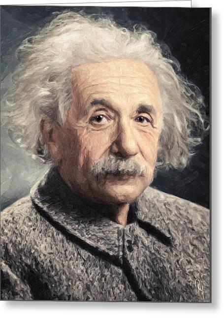 Albert Einstein Greeting Card by Taylan Apukovska