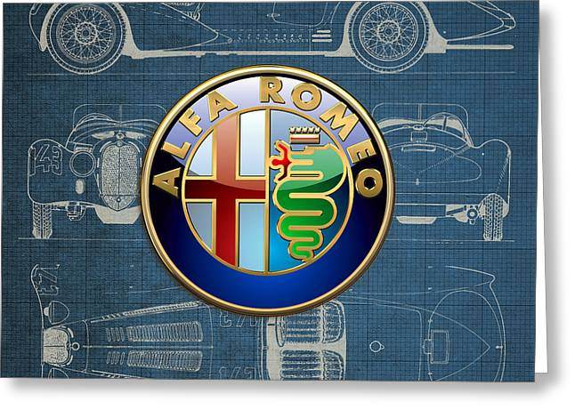 Alfa Romeo 3 D Badge Over 1938 Alfa Romeo 8 C 2900 B Vintage Blueprint Greeting Card by Serge Averbukh