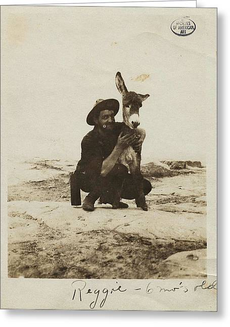 Alfred Lenz With Reggie The Burro Greeting Card