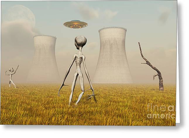 Alien And Ufo Activity At A Nuclear Greeting Card