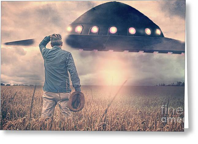 Alien Encounter Greeting Card by Edward Fielding