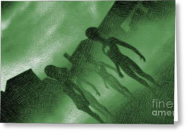 Aliens In Green Fog Greeting Card
