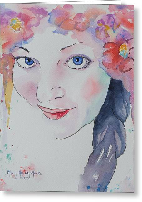 Greeting Card featuring the painting Alisha by Mary Haley-Rocks