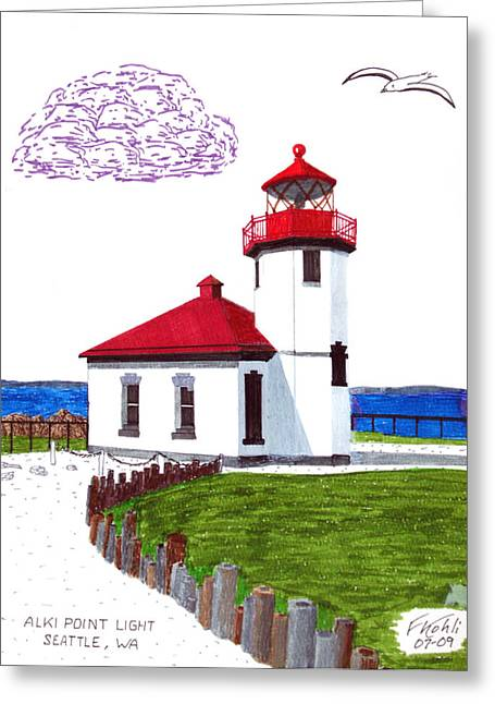 Alki Point Light Greeting Card by Frederic Kohli