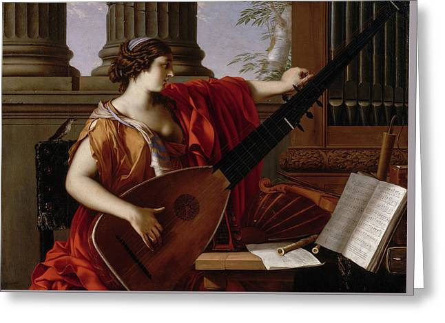 Allegory Of Music Greeting Card by Laurent de La Hyre