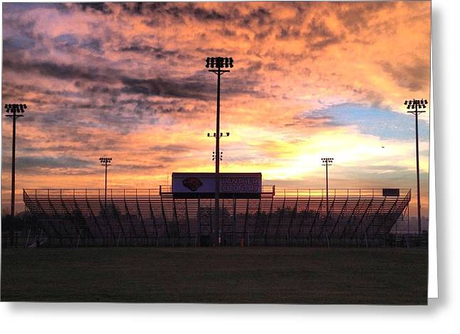 Alma High School Don Miller Field Sunrise Bleachers Greeting Card