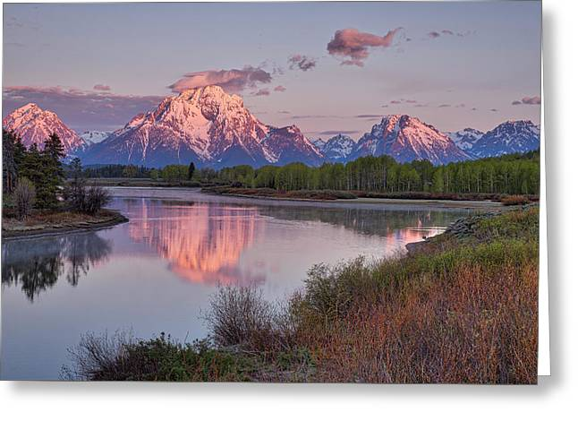 Alpenglow At Oxbow Bend Greeting Card