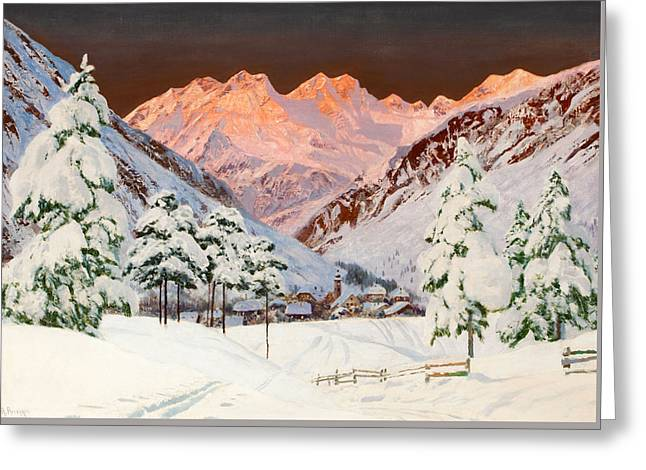 Alpine Mountain Scene Greeting Card by Alwin Arnegger