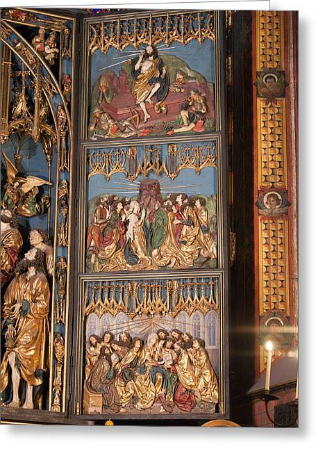 Altarpiece By Wit Stwosz In St. Mary's Basilica Greeting Card