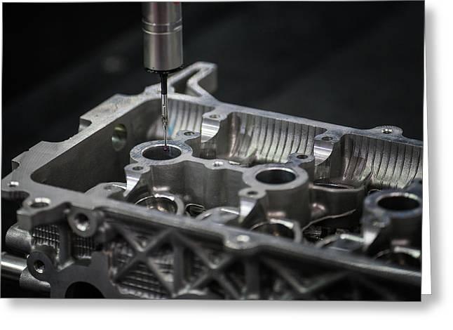 Aluminium Auto Part Inspection By Cmm Dimension Check Machine Greeting Card by Anek Suwannaphoom