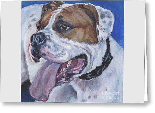 Greeting Card featuring the painting American Bulldog by Lee Ann Shepard