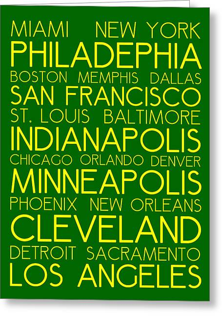 American Cities In Bus Roll Destination Map Style Poster  Greeting Card