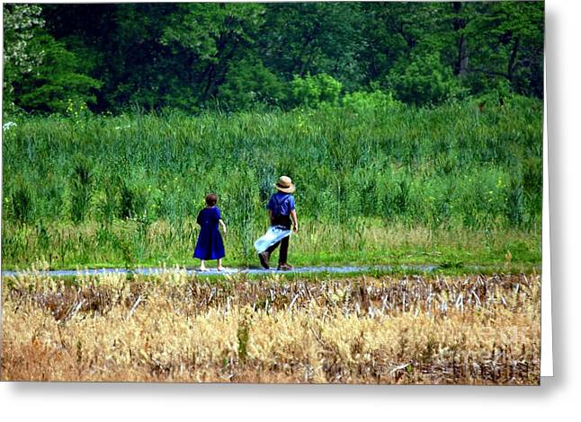 Amish Brother And Sister Greeting Card by Randy Matthews