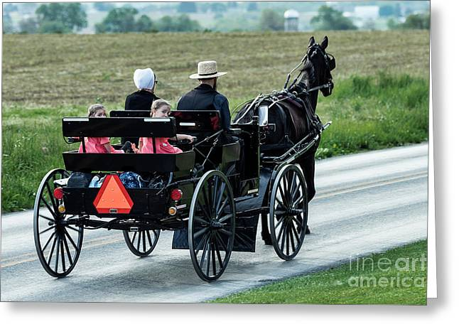 Amish Family Greeting Card by John Greim