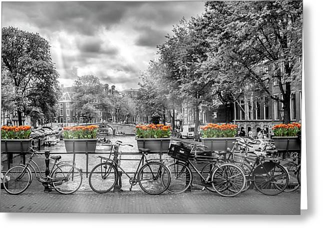 Amsterdam Gentlemen's Canal Panoramic View Greeting Card by Melanie Viola