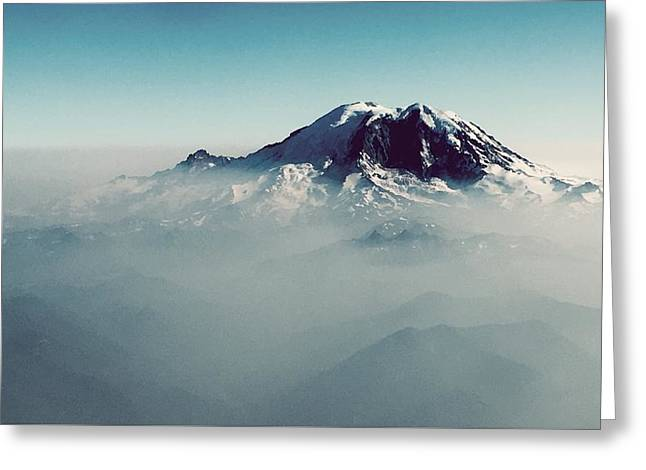 An Aerial View Of Mount Rainier Greeting Card