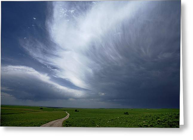 An Afternoon Thunderstorm Coming Greeting Card by Jim Richardson