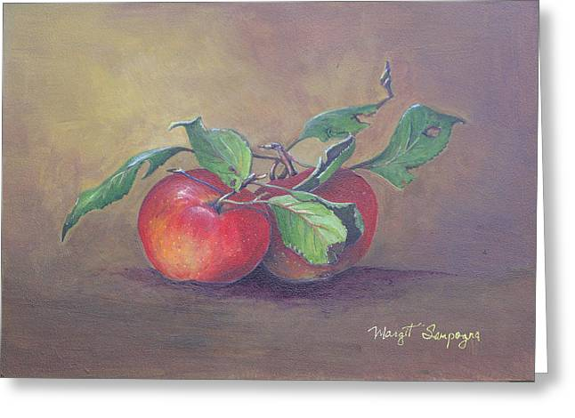 Greeting Card featuring the painting An Apple A Day  by Margit Sampogna