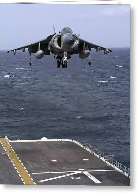 An Av-8b Harrier II Prepares To Land Greeting Card