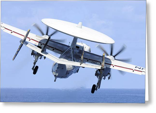 Turboprop Greeting Cards - An E-2c Hawkeye Launches Greeting Card by Stocktrek Images