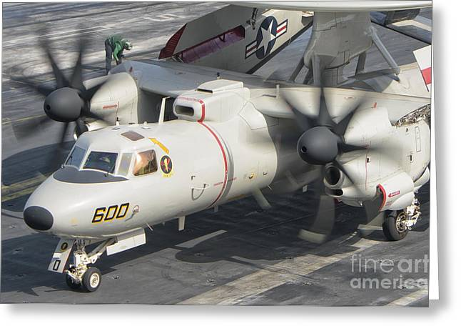 An E-2d Advanced Hawkeye Aboard Uss Greeting Card by Giovanni Colla