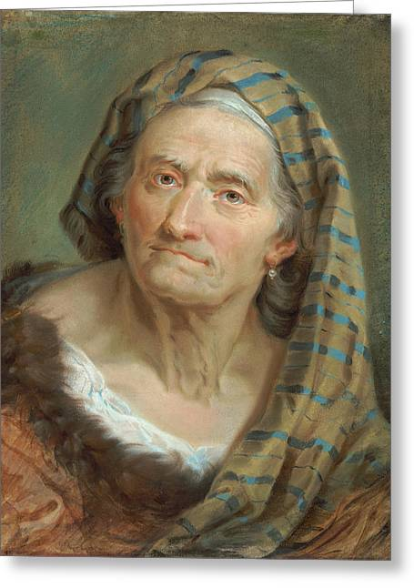 An Elderly Woman In A Striped Shawl Greeting Card