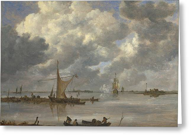 An Estuary With Fishing Boats And Two Frigates Greeting Card