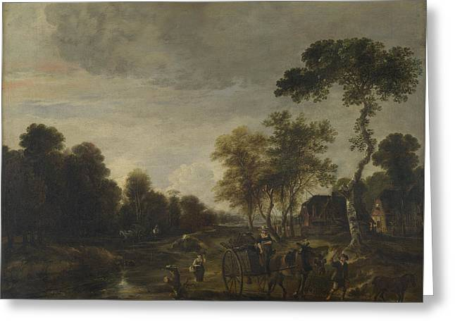 An Evening Landscape With A Horse And Cart By A Stream Greeting Card