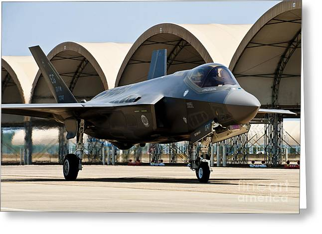 An F-35 Lightning II Taxiing At Eglin Greeting Card by Stocktrek Images