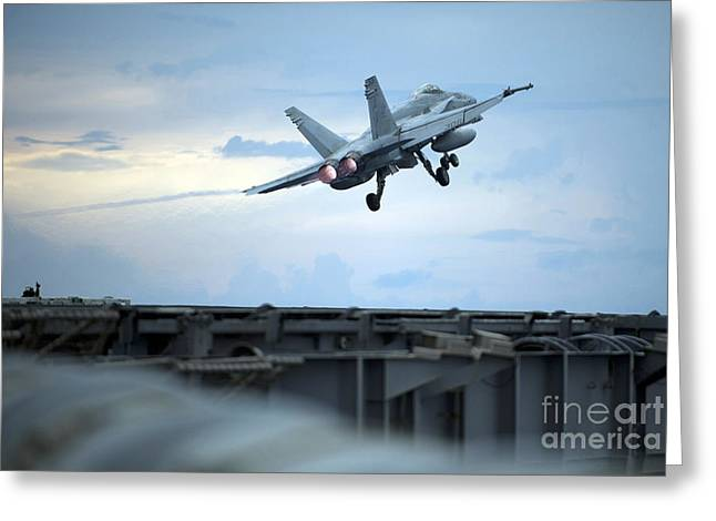 An F A-18 Launches Greeting Card by Celestial Images