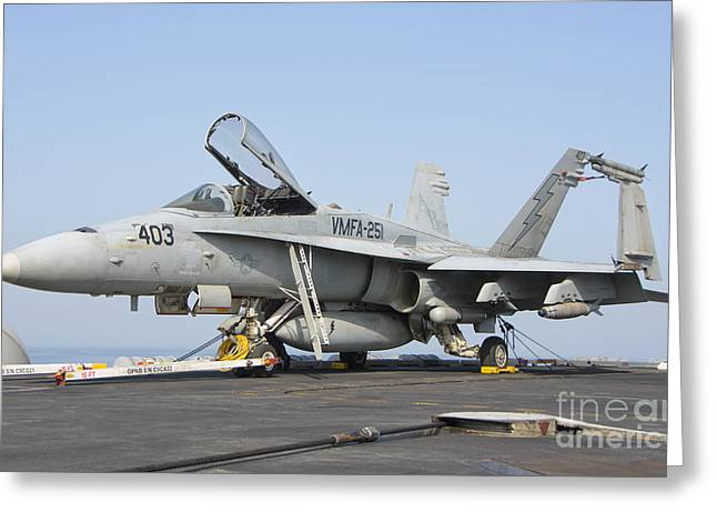 An Fa-18c Hornet On The Flight Deck Greeting Card by Giovanni Colla