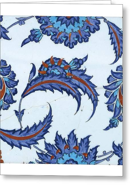 An Iznik Polychrome Pottery Tile Greeting Card