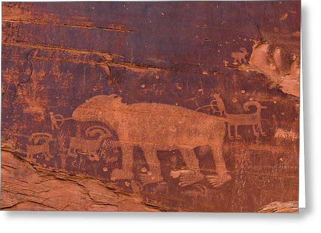 Greeting Card featuring the photograph Ancient Native American Petroglyphs On A Canyon Wall Near Moab. by Jim Thompson