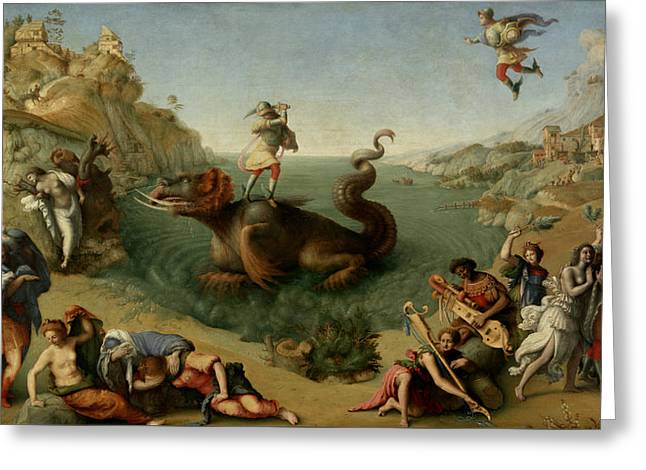 Andromeda Freed By Perseus Greeting Card