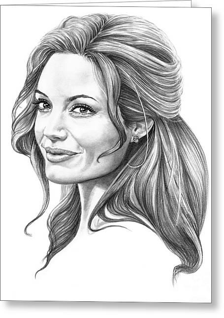 Angelina Jolie Greeting Card by Murphy Elliott