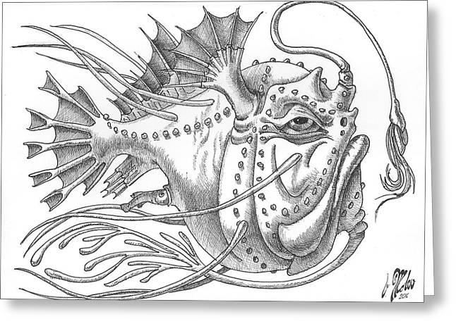 Anglerfish Greeting Card by Victor Molev