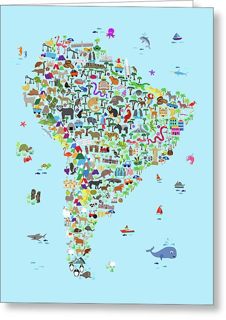 Animal Map Of South America For Children And Kids Greeting Card