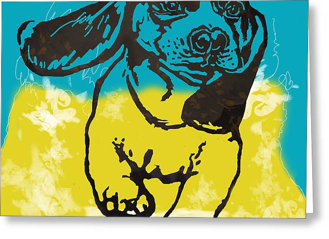 Animal Pop Art Etching Poster - Dog - 11 Greeting Card by Kim Wang