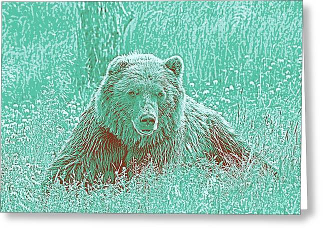 Animal Posters - Grizzly Bear, Ca 2017 By Adam Asar 3 Greeting Card