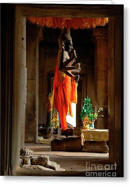 Ankor Wat Cambodia Greeting Card by Bob Christopher
