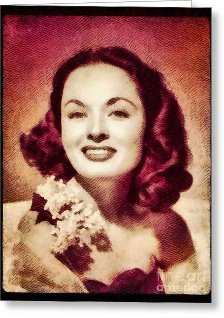 Ann Blyth, Vintage Actress By John Springfield Greeting Card