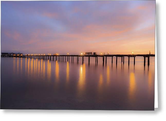 Greeting Card featuring the photograph Anna Maria City Pier , Anna Maria Island Sunrise  by Paul Schultz