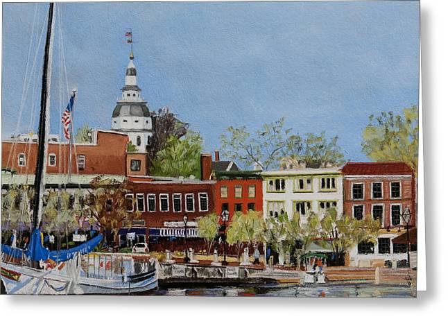 Annapolis Harbor Greeting Card by Mary Susan Vaughn