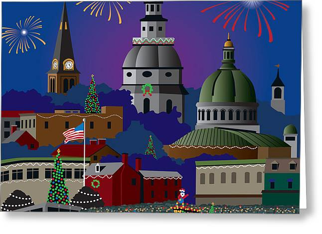 Night-scape Greeting Cards - Annapolis Holiday Greeting Card by Joe Barsin