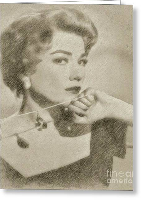 Anne Baxter Vintage Hollywood Actress Greeting Card by Frank Falcon