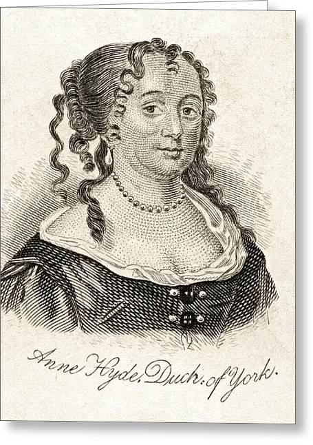 Anne Hyde Duchess Of York 1637-1671 Greeting Card by Vintage Design Pics